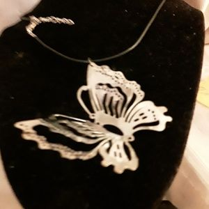 Vintage silver hand cut out large butterfly pendan